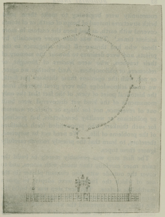Fig. 13. Ground plan and restoration of the bharahat stupa. [From Cunningham's Stupa of Bharhut. Pl. iii]